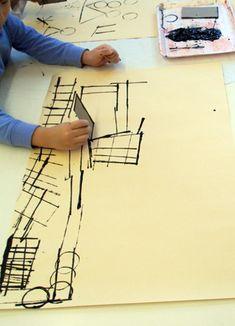 "Line Printing : Black paint, cardboard. Create artwork using only ""lines."" Perfect for lower elementary art class. Teaching elements of art. Kindergarten Art, Preschool Art, Middle School Art, Art School, Primary School Art, Art Lessons Elementary, Process Art, Elements Of Art, Art Classroom"