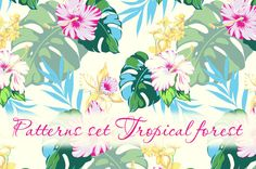 Digital pattrens set Tropical forest by nyhoboika on Etsy