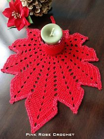 Grace y todo en Crochet: Leaf candle holder for Christmas! Crochet Flower Patterns, Doily Patterns, Crochet Motif, Crochet Doilies, Crochet Flowers, Free Crochet, Crochet Designs, Crochet Leaves, Crochet Fall