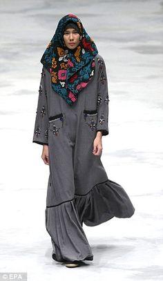 Colourful fun: Indonesian Muslim-wear designer, Vivi Zubedi, showcased colourful headscarv...