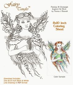 Fairy Tangles: New Fairy-Tangles™ Digi-Stamp & Coloring Sheet Release