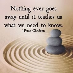Inspirational Quotes: Nothing ever goes away until it teaches us what we need to know.  Pema Chodron #quote  Top Inspirational Quotes Quote Description Nothing ever goes away until it teaches us what we need to know. - Pema Chodron #quote