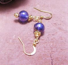 Vintage Midnight Blue Glass Beads Gold Over by DinaMichelleJewelry, $32.00