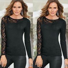 Women Long Sleeve Loose Cardigan Knit Blouse Jumper Knitwear Outwear Lace Shirts Top