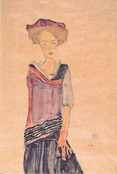 Stehendes Mädchen -  Egon  Schiele  1910  Expressionism