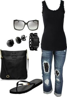 Yep, my perfect outfit.  Flip flops, tank, rolled up jeans and Black, black and black.