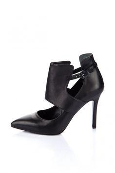 Hakiki Deri Siyah Kadın Topuklu Ayakkabı