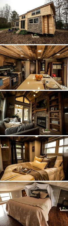 A tiny house retreat in Cobleskill, NY. Built by Lil Lodge and featured on Tiny House Nation. #containerhome #shippingcontainer