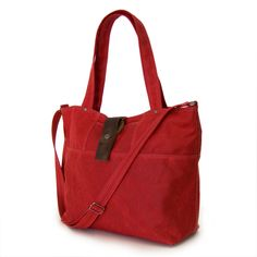 The Carrier - in Red waxed canvas.