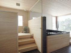 Modern sauna and bath tub Boho Bathroom, Small Bathroom, Bathroom Inspiration, Interior Inspiration, Portable Steam Sauna, Inside A House, Sauna Room, Infrared Sauna, Bathroom Toilets