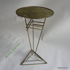 ETSY Vintage Atomic Wire Side Table Metal TRIANGLE Base 14 by GoodEye