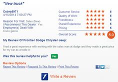 Read what our customers are saying http://frontierdodge.com/section/secondary/testimonials/Lubbock-TX-Dodge-Chrysler-Jeep-RAM-Dealer