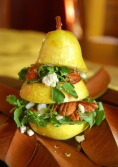 Raw Vertical Pear Salad. This is a gorgeous idea! I would make it vegan by replacing the blue cheese with fluffy macadamia cheeze and using maple syrup instead of honey. YUM! What fabulous presentation for a dinner party.