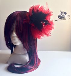 Red and black hackle feather fascinator