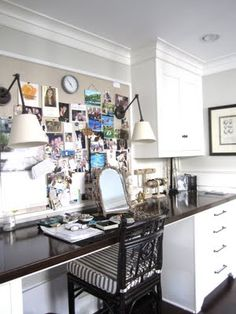 wall to wall desk.  love the desk lamp style sconces right in the inspiration board.