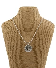 Buddhist Jewelry | Lotus Pendant Necklace | Pewter Jewelry