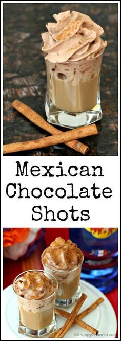 Mexican Chocolate Shots cocktail recipe - easy chocolate dessert drink for Cinco de Mayo - serve with churros Chocolate Shot Recipe, Chocolate Shots, Easy Chocolate Desserts, Mexican Chocolate, Chocolate Liqueur, Hot Chocolate, Chocolate Cocktails, Dessert Drinks, Yummy Drinks