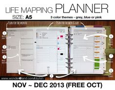 Nov to Dec 2013 (Free Oct) - Life Mapping Planner - A5 Inserts - Refills Filofax Binder Collins