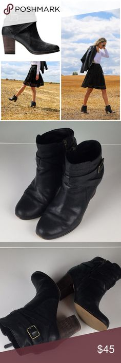 "Cole Haan | Cassidy Wraparound Strap Boots Black stacked heel bootie by Cole  Haan. 3"" heel, in great, gently used condition. There are a few small nicks  in ..."
