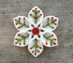 Felt Christmas flower ornament; red felt for poinsettia