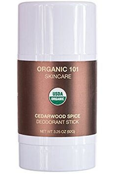 ORGANIC 101 Cedarwood Spice USDA Certified, All Natural, Extra-Strength Deodorant No Aluminum, Parabens, Other Toxic Chemicals Stay Clean, Smell Fresh (3.25oz, Satin Bronze)