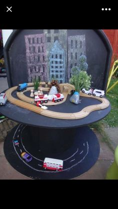 Train tracks on table