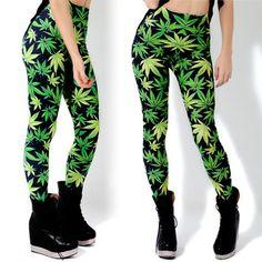 2014 New Hot Fashion Women Girls Green Leaf marijuana cannabis print pants black milk Woah Dude Leggings S/M/L/XL Free shipping