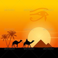 Egypt Symbols and Pyramids  #GraphicRiver         Traditional Horus Eye symbol and camel silhouette in front. and