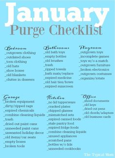 declutter Free printable January purge checklist that helps you purge and clean your house room by room. Monthly organization printables that are so helpful! Deep Cleaning Tips, Cleaning Hacks, Cleaning Lists, Weekly Cleaning Schedules, Cleaning Challenge, Organize Life, Fee Du Logis, Medicine Organization, Organization Hacks