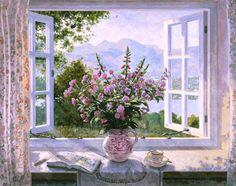 Door Murals, Window View, Art Club, Beautiful Paintings, Flower Art, Landscape Paintings, Illustration Art, Drawings, Flowers