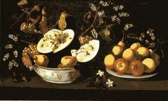 """Josefa de Óbidos, """"Natureza-morta com frutos e flores"""" (c. 1670, MNAA)."""