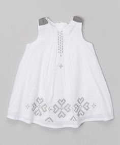 Look what I found on #zulily! White & Gray Embroidered Swing Dress - Infant, Toddler & Girls by Donita #zulilyfinds