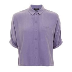 Topshop Short Sleeve Roll Up Shirt ($36) ❤ liked on Polyvore featuring tops, layered tops, short sleeve button down shirts, short sleeve shirts, rayon shirts and purple top