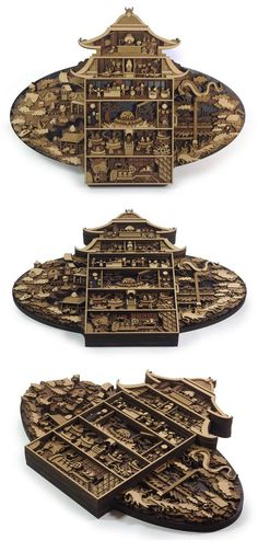 Layered, laser cut, plywood illustration depicting the bathhouse from the amazing Spirited Away by Studio Ghibli. Approximate size is 290mm by 390mm