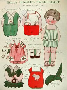 1929 Dolly Dingle Paper Dolls - This is an original uncut Dolly Dingle Paper Doll sheet removed from an old issue of Pictorial Review. Illustrated by the wonderful Grace Drayton. Here we have Dolly Dingle's Sweetheart, Billie.