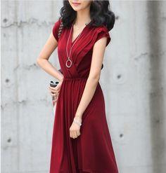 Garnet Colored V Neck Dress!