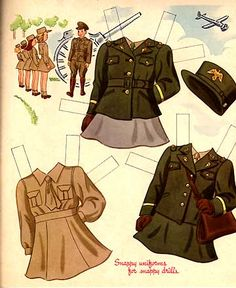 Mary of the WACS - Snappy uniforms for snappy drills' ~ WWII era patriotic paper doll uniforms, ca. 1940s.