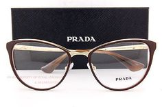 e39c6fe6508ac Brand New Prada Eyeglass Frames 55TV CINEMA DHO 1O1 Brown Gold for Women  Size 52 8053672621518