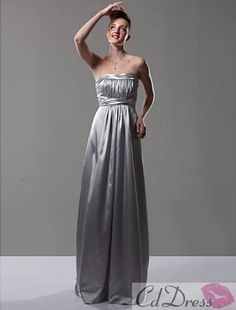 Empire Strapless Floor-length Charmeuse Bridesmaid/ Wedding Party Dress