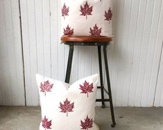 Sustainably made decor pillows with hand printed maple leaves! Choose colour and size. Made to order.