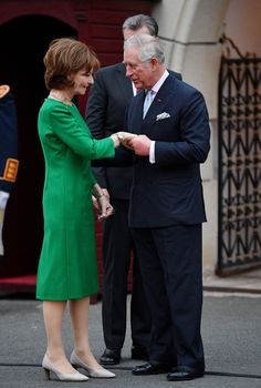 The Crown Princess looked elegant in a tailored green dress for her meeting with her fellow royal Royal Prince, Prince Of Wales, Royal Family Website, Romanian Royal Family, Lady In Waiting, Princess Anne, European Tour, Duchess Of Cornwall, Daughter Of God