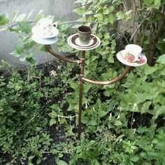 The cutest teacups/ garden decor I've ever seen. @the gallery walk in downtown Logan- the Crepery