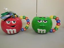 M&M's Collectibles, M & M collectible ceramic mugs featuring red & green