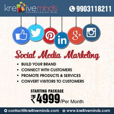 Social Media Marketing! Package starting Rs. 4999/-* Per Month Only. Call +91 9903118211 Visit us at http://www.kre8iveminds.com/ #smo #SocialMedia #web #online #marketing #branding