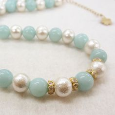 amazonite cotton pearl necklace #tocca #japan