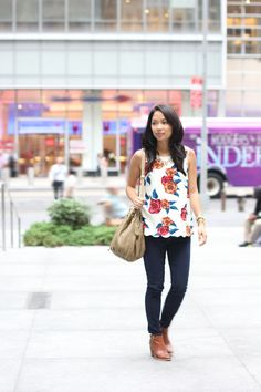anthropologie botanica blouse, floral top anthro, fall florals, madewell jeans, cognac booties, bucket bag