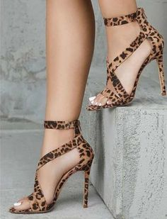 Natalia - Leopard Print High Heels – Speak Source by ssssherry fashion heels Strappy Sandals Heels, Stilettos, Stiletto Heels, High Heels, Shoes Heels, Black Heels, Sandals Outfit, Pink Shoes, Shoes Sneakers