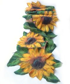 Nuno Felted scarf   Sunflower yellow green flower by galafilc
