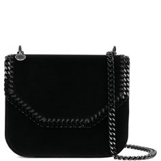 Stella Mccartney Falabella Box Velvet Shoulder Bag With Chain (65.190 RUB)  ❤ liked on 87a1e6aade9d0