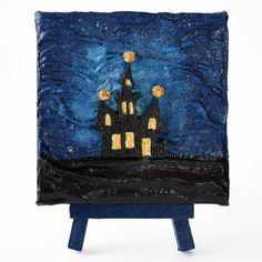 The little mysterious hose (A kis titokzatos ház) - 10 x 10 cm (10 x 14 cm), 2018 #paverpol #textile #textil #acrylic #akril #vivienholl #house #ház #night #éjszaka #mysterious Techno, Flag, Country, House, Art, Africa, Art Background, Rural Area, Home